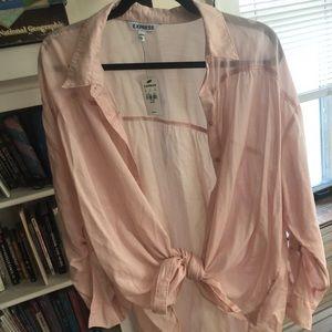 Express light pink button down shirt, front tie